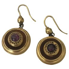 Victorian Almandine Garnet Cabochon Gold Earrings