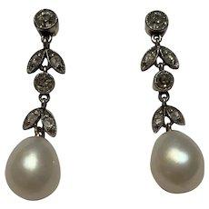 Old Cut Diamond and Natural Pearl Edwardian 14 Karat Gold Earrings