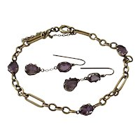 Amethyst 14 Karat Gold Earrings And Bracelet