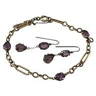 Amethyst 14 Karat Gold Earrings And Bracelet