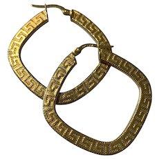 18 Karat Gold Hoop Greek Key Earrings