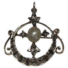 A Rose Cut Diamond Victorian Pendant