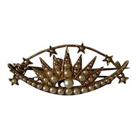Seed Pearl and Gold Antique Celestial Brooch