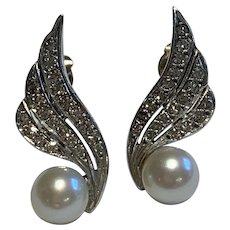 Diamond and Cultured Pearl Vintage Earrings