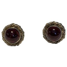 A Pair of Cabochon Garnet 9 Karat Gold Earrings