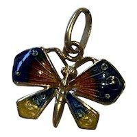 Enamel Butterfly 18 Karat Pendant Charm