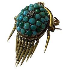 Victorian Turquoise Tassel Pendant