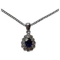 Sapphire and Diamond 18k Gold Pendant