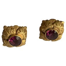 Pink Tourmaline 15ct Gold Victorian Earrings