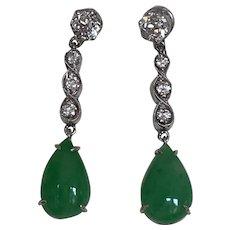 Art Deco Old Cut Diamond Jadeite Earrings