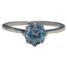 Zircon Platinum 1940s Ring