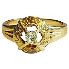 Arts and Crafts Diamond 18 Karat Gold Ring