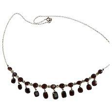 An Edwardian Almandine Garnet 9 Karat Gold Necklace