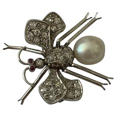 Platinum Diamond and Cultured Pearl Insect Brooch