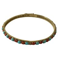 A 14k Gold Coral and Turquoise Bracelet