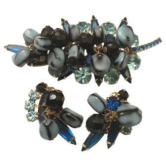 Juliana Verified Blue Carmen Miranda Cha-Cha Bead Rhinestone Brooch / Pin & Earrings Set. Mint Condition