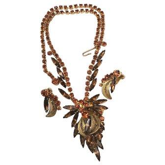 "Juliana D&E Brown & Tangerine Orange Rhinestone & Filigree 19""! Necklace and Earrings Set"