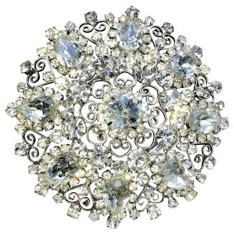 """Juliana D&E Huge Clear Rhinestone & Scroll Belt Buckle 4.25"""".  Excellent to Mint Condition"""