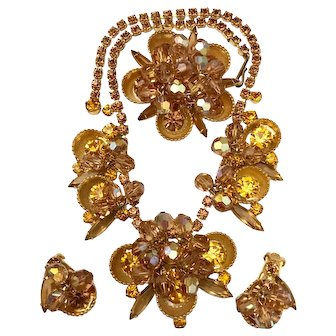 Juliana D&E Half-Cup Gold- and Amber- Colored Rhinestone and Crystal Bead Necklace , Brooch and Earrings Set