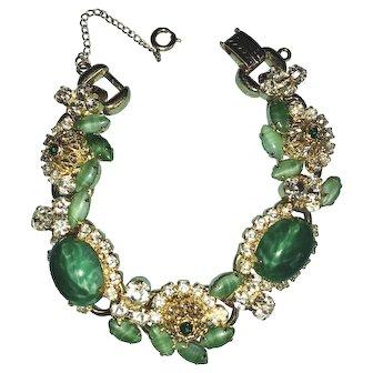 Juliana D&E Jade-Green-colored Oval Cabochon Rhinestone 5-link Bracelet.  Mint vintage condition