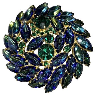 Juliana D&E Peacock Blue Green Rhinestone Brooch