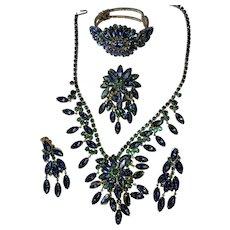 Juliana D&E RARE Mega Peacock Blue Green Dangle Rhinestone Bib Necklace, ER, Brooch & Clamper Bracelet Parure Set