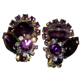 Juliana D&E Vintage Costume Jewelry Purple Slag Givre Variegated Stone & Rhinestone Earrings Mint