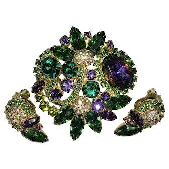 Juliana D&E Disco Ball Watermelon Green Purple Rhinestone Brooch &. Earring Set. Mint