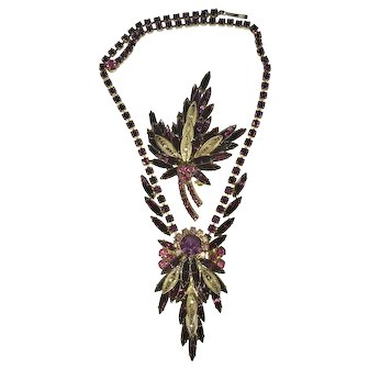 Vintage Juliana D&E Purple Pink Rhinestone Filigree Necklace and Earring Set. Mint