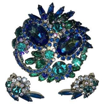 Juliana D&E Jewelry Watermelon/Heliotrope Blue Teal Green Rhinestone Floret Brooch & Earrings Set Mint