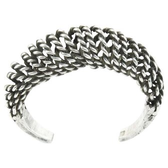 Vintage Sterling Silver Adjustable Spring Coil Cuff Bracelet