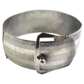 Art Deco Sterling Silver Belt Buckle Hinged Bangle Bracelet