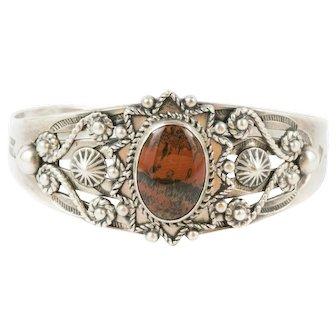 Vintage Sterling Silver Navajo Red Jasper Bracelet