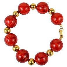 Upcycled Red Swirl Bakelite Bead Bracelet