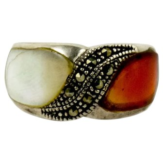 Vintage Sterling Silver Carnelian & Mabe Pearl Marcasite Ring Size 6.5