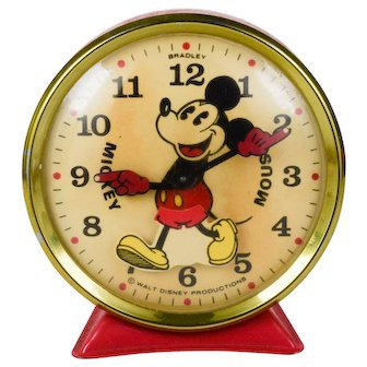Large Vintage Disney Mickey Mouse Alarm Clock Mechanical Wind Up Working