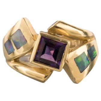 Opal Diamond Amethyst 14k Gold Signed JH Statement Ring