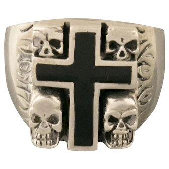 Vintage Handmade Skull Cross Onyx Biker Flame Ring Size 12.75