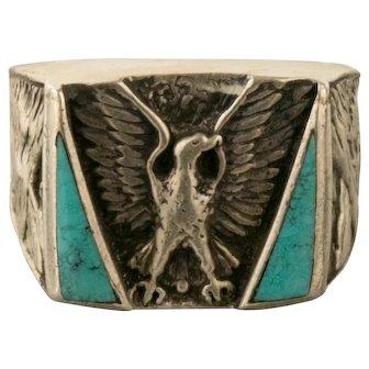 Vintage Thunder Bird Signed SC Turquoise Eagle Ring Size 12