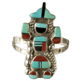 Vintage Signed SJ Kachina Dancer Hopi Zuni Turquoise Red Coral Mosaic Ring Sz 8.5