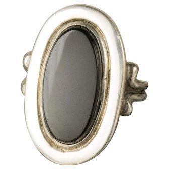 Vintage Onyx Sterling Silver Oblong Oval Modernist Ring Size 7