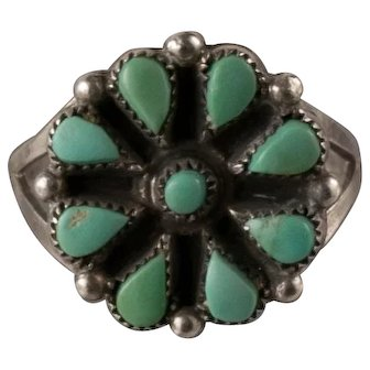 Vintage Green Turquoise Petit Point Ring Size 6.25
