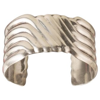 Vintage Taxco Mexican Sterling Silver Wide Double Wave Cuff Bracelet
