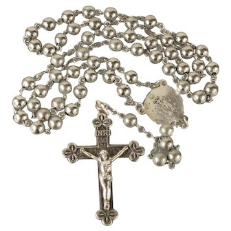 Vintage Mid Century Sterling Silver Rosary Christian Catholic Ladies 5mm