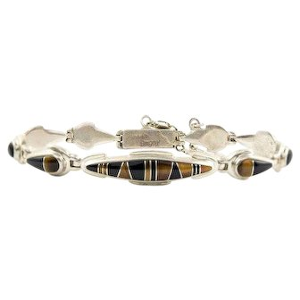 Calvin Begay Sterling Silver Onyx and Tiger Eye Bracelet