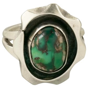 Rare Royston Turquoise Navanjo Sterling Silver Ring Size 6