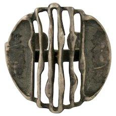 Vintage Brutalist Adjustable Sterling Silver Ring Size 7 to 9