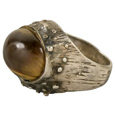 Brutalist Tiger Eye Sterling Silver Statement Ring Size 7