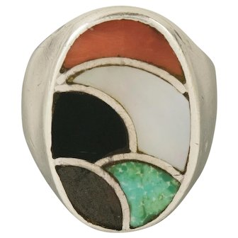 Vintage Zuni Mosaic Mens Oval Sterling Silver Ring Size 9.5 Heavy