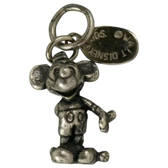 Vintage Walt Disney Mickey Mouse Sterling Silver Charm